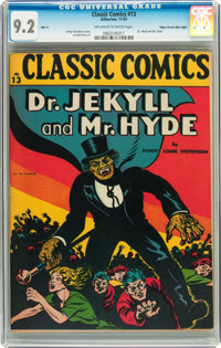 Classic Comics #13 Dr. Jekyll and Mr. Hyde HRN 15 - Mile High pedigree (Gilberton, 1943) CGC NM- 9.2 Off-white to white...