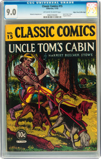 Classic Comics #15 Uncle Tom's Cabin - First Edition - Mile High pedigree (Gilberton, 1943) CGC VF/NM 9.0 Off-white to w...