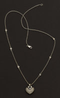 Estate Jewelry:Necklaces, Pave Diamond Heart Necklace. ...