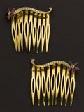 Estate Jewelry:Other , Exquisite Gold & Diamond Hair Combs. ... (Total: 2 Items)