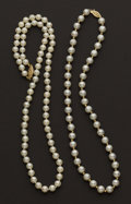 Estate Jewelry:Pearls, Two Strands Of Pearls. ... (Total: 2 Items)