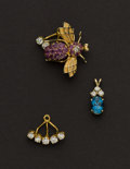 Estate Jewelry:Other , Three Diamond Pendants & One Bumble Bee Pin. ... (Total: 4Items)