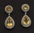 Estate Jewelry:Earrings, Citrine & Diamond Earrings. ...
