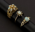 Estate Jewelry:Rings, Three Opal & Diamond Rings. ... (Total: 3 Items)