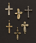 Estate Jewelry:Lots, Six Gold & Diamond Cross Pendants. ... (Total: 6 Items)