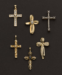 Six Gold & Diamond Cross Pendants
