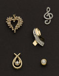 Estate Jewelry:Lots, Five Diamond Drops/Slides. ... (Total: 5 Items)