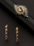 Estate Jewelry:Suites, Ruby & Diamond Ring & Earrings. ... (Total: 2 Items)