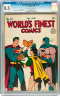 Golden Age (1938-1955):Superhero, World's Finest Comics #22 (DC, 1946) CGC VF+ 8.5 Off-white to white pages....