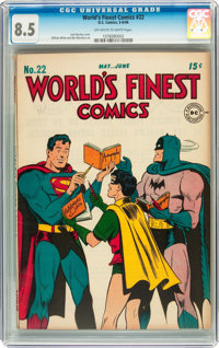 World's Finest Comics #22 (DC, 1946) CGC VF+ 8.5 Off-white to white pages
