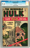 Silver Age (1956-1969):Superhero, The Incredible Hulk #4 (Marvel, 1962) CGC VF- 7.5 Off-whitepages....