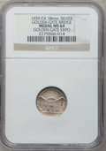 Expositions and Fairs, 1939 Golden Gate Exposition, Golden Gate Bridge MS64 NGC. Silver,18mm. California....