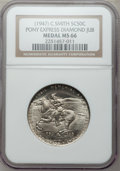 20th Century Tokens and Medals, (1947) C. Smith Pony Express Diamond Jubilee Medal MS66 NGC....
