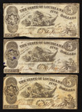 Obsoletes By State:Louisiana, Baton Rouge, LA- State of Louisiana $5 Oct. 10, 1862 Three Examples. ... (Total: 3 notes)