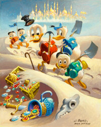 Carl Barks Trail of the Forty Thieves Preliminary Painting Sketch (#P-7-A) Original Art (c. 1980)