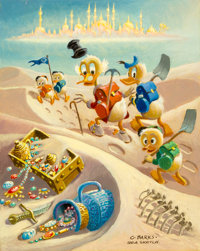 Carl Barks Trail of the Forty Thieves Preliminary Painting Sketch (#P-7) Original Art (c. 1980)
