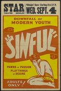 """Movie Posters:Bad Girl, Sinful (Unknown, 1940s). Window Card (14"""" X 22""""). Very little isknown about this 1940s exploitation film. Horizontal fold l..."""