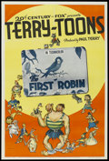 "Movie Posters:Animated, Terry-Toons Stock (20th Century Fox, 1939). One Sheet (27"" X 41"")""The First Robin."" Animated. Directed by Connie Rasinski. ..."