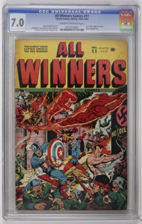 All Winners Comics #11 (Timely, 1943) CGC FN/VF 7.0 Cream to off-white pages. Timely's greatest heroes: Captain America...
