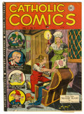 Golden Age (1938-1955):Religious, Catholic Comics V3#2 (Catholic Publications, 1948) Condition: PR.Features include a Treasure Island adaptation. Pages 3-4 a...