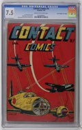 "Golden Age (1938-1955):War, Contact Comics #4 Davis Crippen (""D"" Copy) (Aviation Press, 1945)CGC VF- 7.5 Cream to off-white pages. This copy is current..."