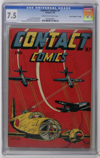"""Contact Comics #4 Davis Crippen (""""D"""" Copy) (Aviation Press, 1945) CGC VF- 7.5 Cream to off-white pages. This c..."""
