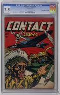 "Golden Age (1938-1955):War, Contact Comics #7 Davis Crippen (""D"" Copy) (Aviation Press, 1945)CGC VF- 7.5 Cream to off-white pages. A fantastic cover by..."