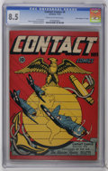 """Golden Age (1938-1955):War, Contact Comics #9 Davis Crippen (""""D"""" Copy) (Aviation Press, 1945)CGC VF+ 8.5 Cream to off-white pages. L. B. Cole pays trib..."""