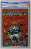 """Golden Age (1938-1955):War, Contact Comics #11 Davis Crippen (""""D"""" Copy) (Aviation Press, 1946)CGC VF+ 8.5 Off-white to white pages. On this cover, L. B..."""
