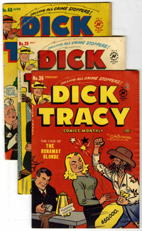 "Dick Tracy Comics Monthly Davis Crippen (""D"" Copy) pedigree Group (Harvey, 1951-52). Issues include #36 (VG)..."
