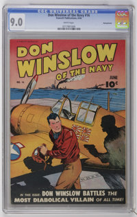 Don Winslow of the Navy #16 Pennsylvania pedigree (Fawcett, 1944) CGC VF/NM 9.0 White pages. Overstreet 2006 VF/NM 9.0 v...