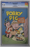 "Golden Age (1938-1955):Cartoon Character, Four Color #182 Porky Pig - Davis Crippen (""D"" Copy) (Dell, 1948)CGC VF/NM 9.0 Off-white pages. Porky and Petunia take a tr..."