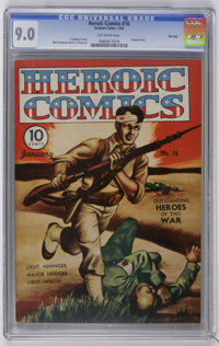 Heroic Comics #16 File Copy (Eastern Color, 1943) CGC VF/NM 9.0 Off-white pages. Painted cover by R. Webster. Bud Thomps...