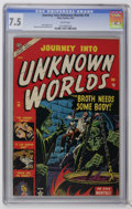 Golden Age (1938-1955):Horror, Journey Into Unknown Worlds #18 (Atlas, 1953) CGC VF- 7.5 Whitepages. Horror stories. Russ Heath cover. Matt Fox art. Overs...