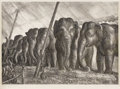 Texas:Early Texas Art - Drawings & Prints, JOHN STEUART CURRY (1897-1946). Circus Elephants, 1936.Lithograph. 9in. x 13in.. Signed lower left. Born in 1897, Joh...