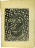 Texas:Early Texas Art - Drawings & Prints, Catherine Blackshear Negro Head Blockprint on Japanese Tissue 121/2 x 17in. Unsigned Provenance: Estate of Catherine B...