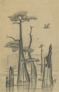 Texas:Early Texas Art - Drawings & Prints, OTIS DOZIER (1904-1987). Caddo Lake - 1934. Pencil. 9in. x6in.. Estate stamp lower right. Titled verso. Caddo Lake in...