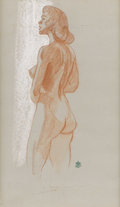 Texas:Early Texas Art - Drawings & Prints, OLIN TRAVIS (1888-1975). Untitled Nude. Conte crayon and chalk onartistboard. 20in. x 12in.. Signed lower left. ...