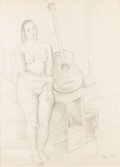 Texas:Early Texas Art - Drawings & Prints, FLORA BLANC REEDER (1916-1995). Untitled Woman with Guitar, mid-1930s. Pencil. 23in. x 17.5in.. Signed lower right. This d...