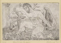 Texas:Early Texas Art - Drawings & Prints, KELLY FEARING (b. 1918). Hercules and the Hydra, 1945.Etching and aquatint. 4.5in. x 7in.. Signed and dated lower left...