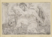 KELLY FEARING (b. 1918) Hercules and the Hydra, 1945 Etching and aquatint 4.5in. x 7in. Signed and dated lower left&...