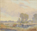 Texas:Early Texas Art - Impressionists, W. FREDERICK JARVIS (1898-1966). Untitled Grazing Cattle. Oil oncanvas. 10in. x 12in.. Signed lower right. A fine small-s...