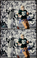 Football Collectibles:Photos, Max McGee Signed Photographs Lot of 2 - Shot from 1st Ever SuperBowl Touchdown!...