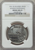 20th Century Tokens and Medals, 1961 Kansas Centennial Medal MS65 NGC. Silvered, 34mm....