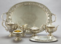 Silver & Vertu:Hollowware, A GORHAM SIX-PIECE SILVER AND SILVER GILT TEA AND COFFEE SERVICE WITH TRAY . Gorham Manufacturing Co., Providence, Rhode Isl... (Total: 9 Items)