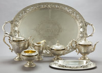 A GORHAM SIX-PIECE SILVER AND SILVER GILT TEA AND COFFEE SERVICE WITH TRAY Gorham Manufacturing Co., Providence