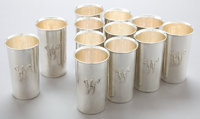 A SET OF TWELVE CLEMENS FRIEDELL SILVER JULEP CUPS Clemens Friedell, Pasadena, California, circa 1927-1961 Mar