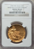 20th Century Tokens and Medals, 1930 Massachusetts Bay Tercentenary MS65 NGC. Gilt, 32mm....