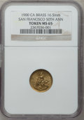 20th Century Tokens and Medals, 1900 San Francisco 50th Anniversary MS65 NGC. Brass, 16.5mm.California....