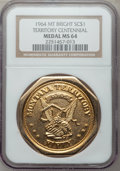 20th Century Tokens and Medals, 1964 Montana Territory Centennial, Bright MS64 NGC....